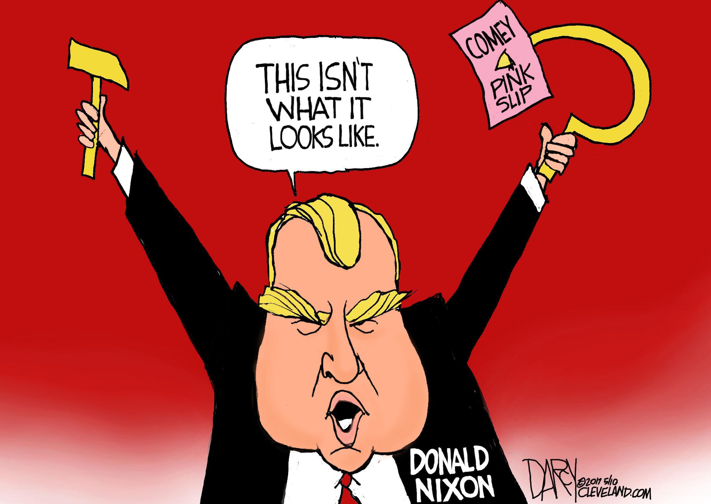 Image result for cartoons of trump firing investigators