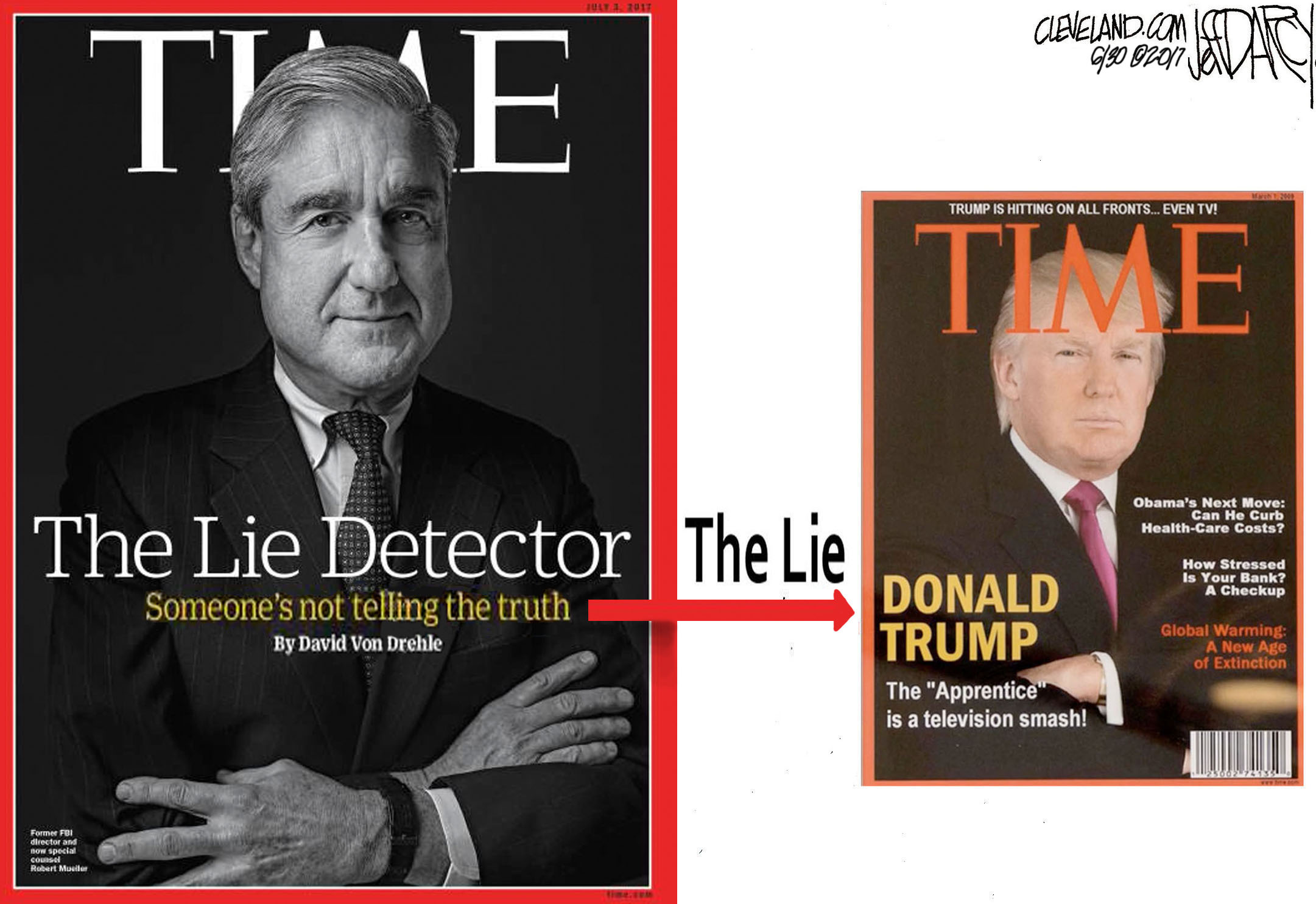 The Washington Post reported that Trump's golf clubs have been decorated with a fake Time magazine cover featuring him