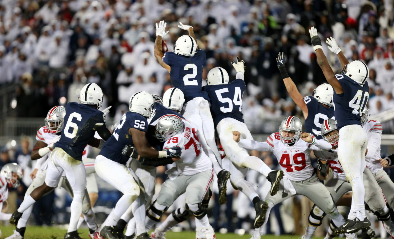Image result for ohio state penn state blocked field goal