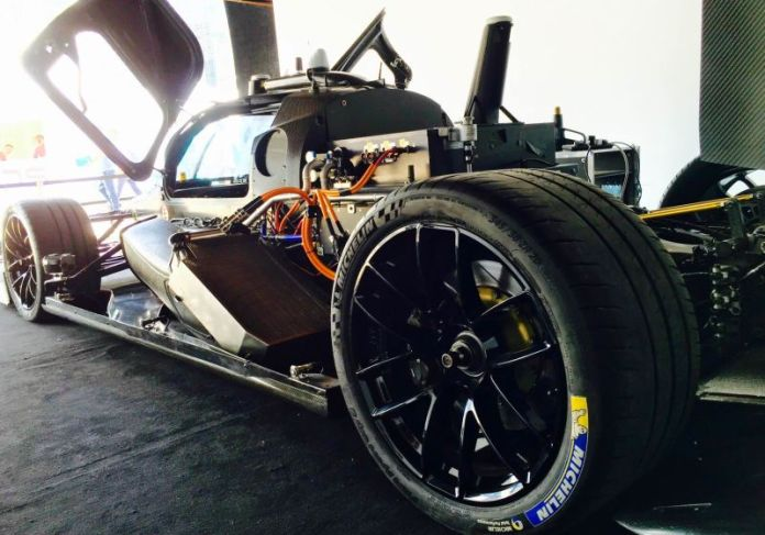Roborace engineer, Matas Simonavicius, says each wheel is individually powered,  providing more stability and safety. <br />
