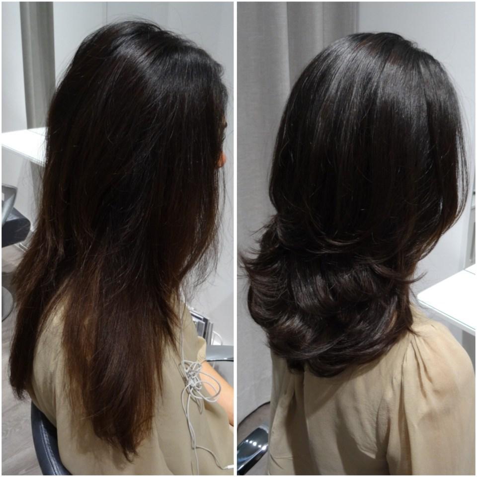 Ella fick en vacker nyans på ett mörkbrunt hår