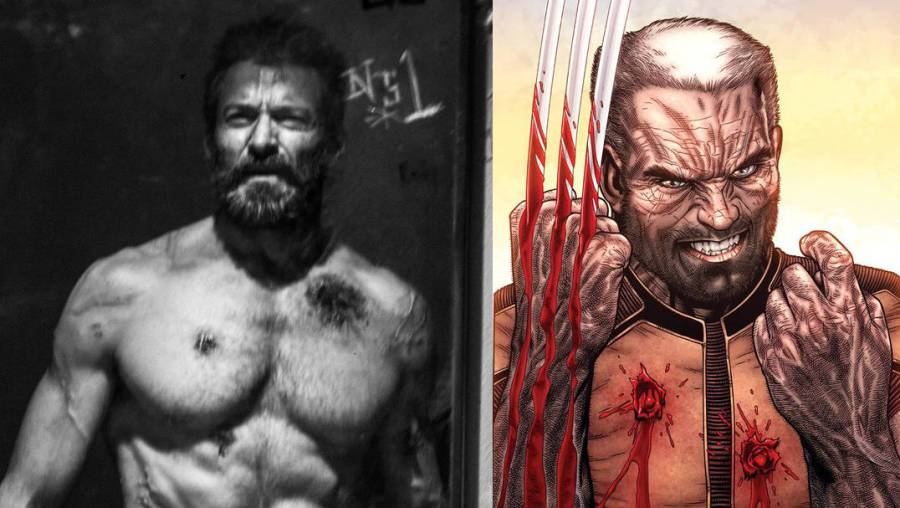 New Old Man Logan Image Revealed Logan Movie Hugh Jackman as Old Man Logan Side by Side Comparison