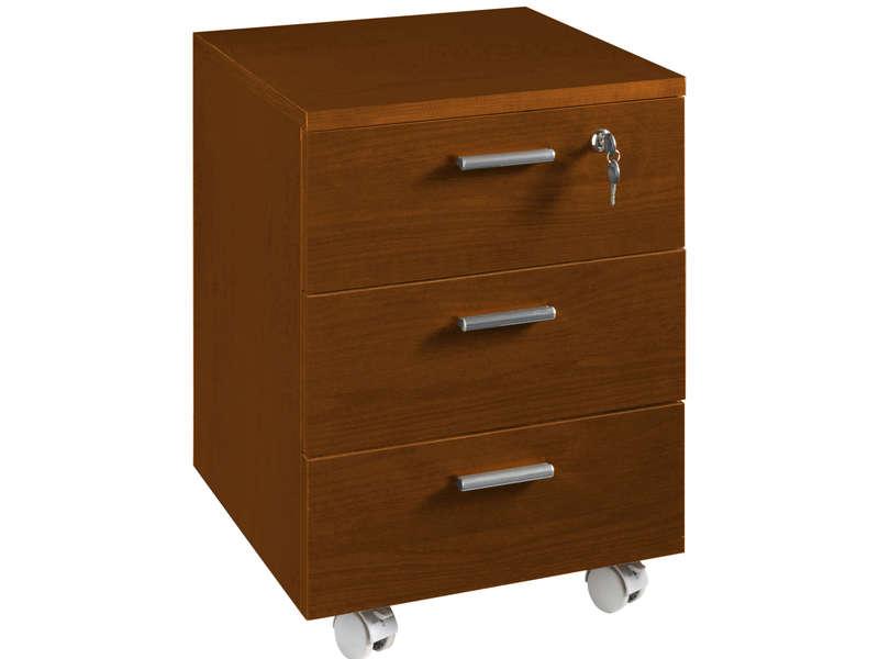 caisson sur roulettes 3 tiroirs first teinte cerisier vente de bureau a composer conforama