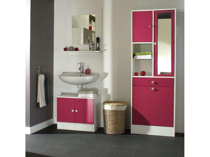 meuble sous lavabo miroir lingere wave coloris fushia vente de meuble et rangement conforama