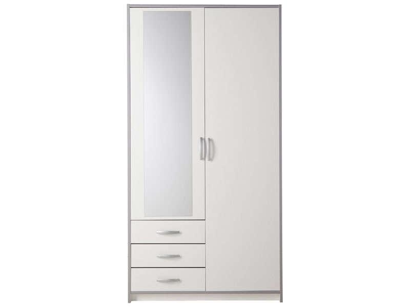 armoire 2 portes 3 tiroirs mars coloris blanc gris vente de armoire conforama