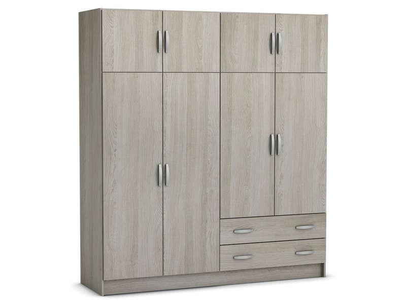 armoire 8 portes 2 tiroirs top 2 coloris chene shanon vente de armoire conforama