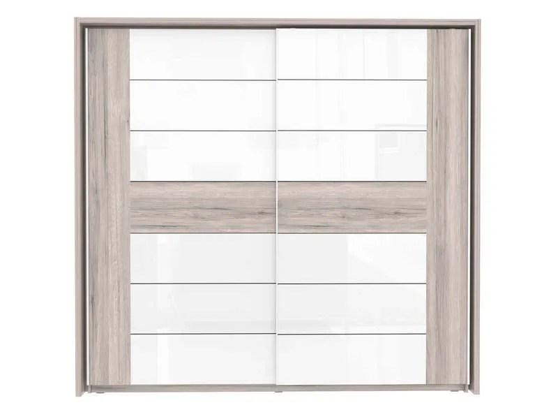 armoire 2 portes coulissantes dolce coloris chene cendre et blanc brillant vente de armoire conforama