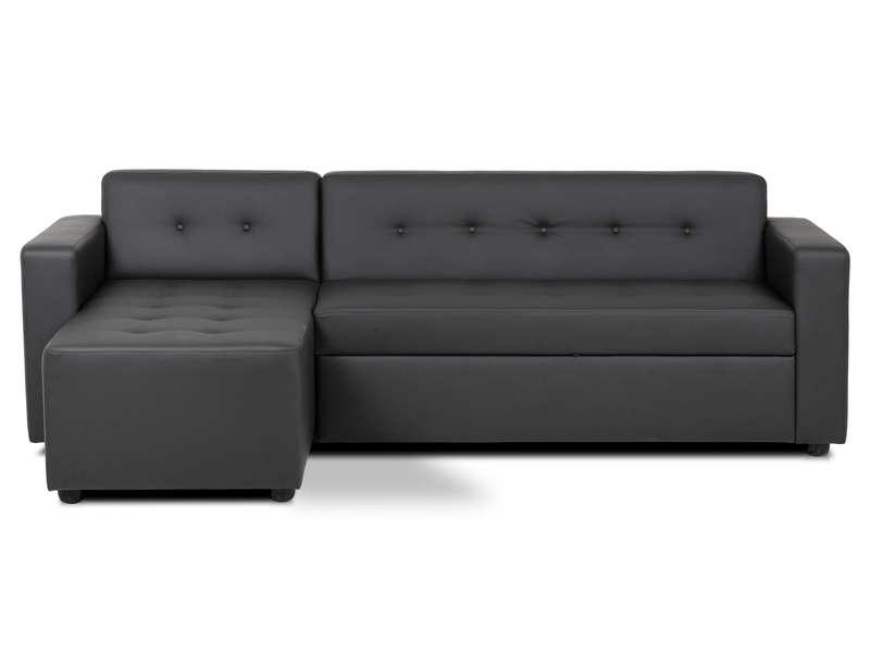 canape d angle convertible 4 places pedro coloris noir en pu vente de canape d angle conforama