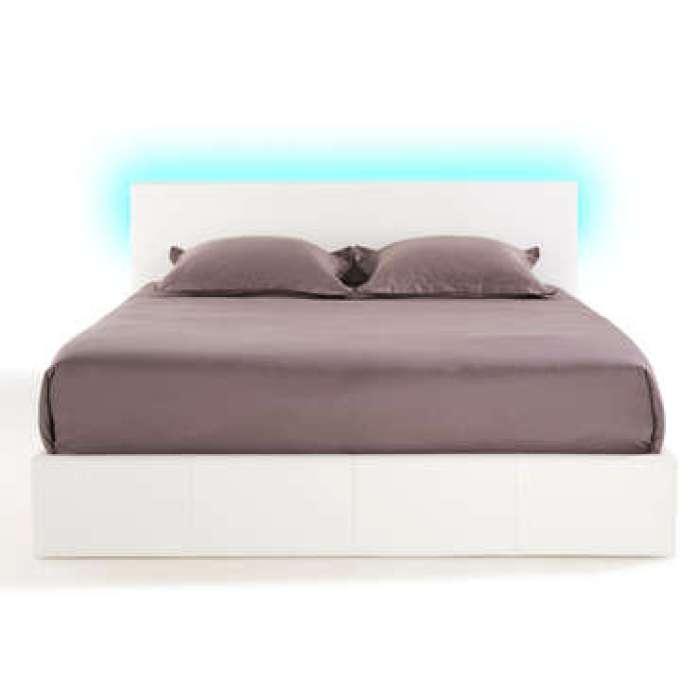 Lit-coffre 140x190 cm avec led STEVA LIGHT coloris blanc