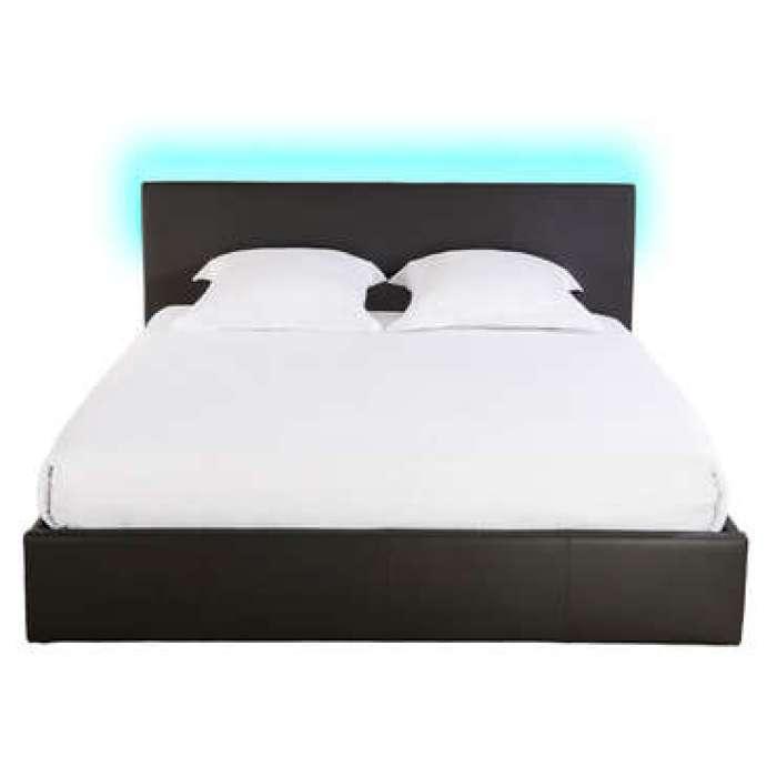 Lit-coffre 140x190 cm avec led STEVA LIGHT coloris noir