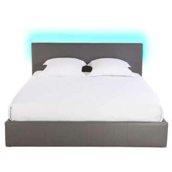 Lit-coffre 160x200 cm avec led STEVA LIGHT coloris gris
