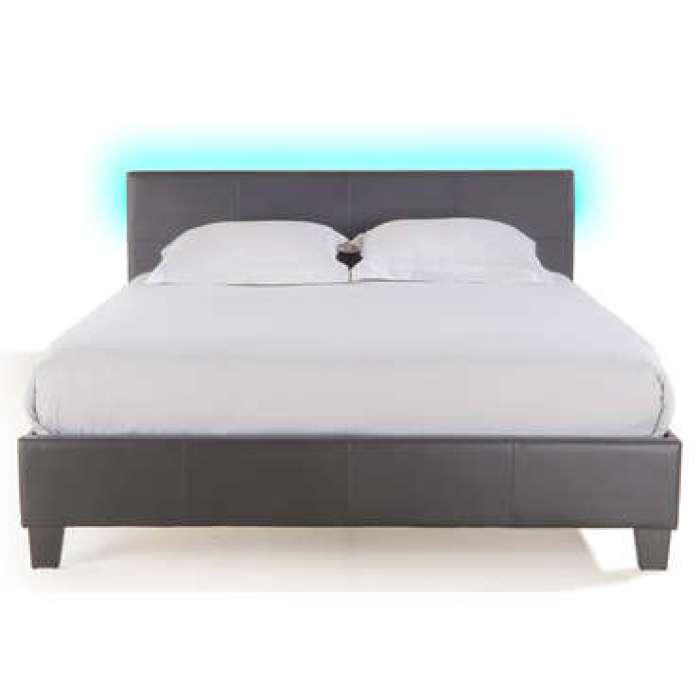 Lit adulte 140x190 cm avec led BLOOM LIGHT coloris gris