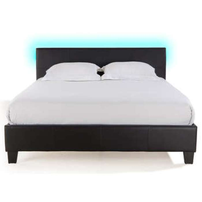 Lit adulte 140x190 cm avec led BLOOM LIGHT coloris noir