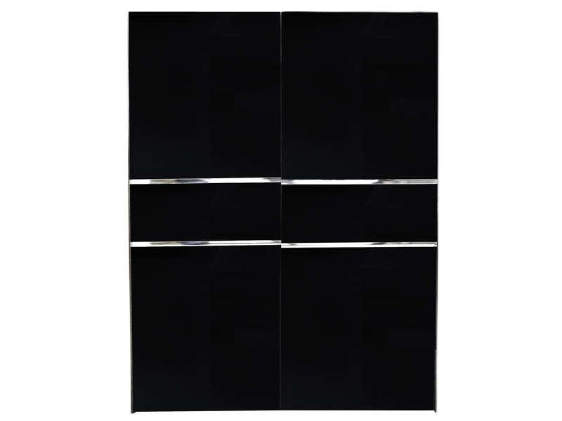 Armoire 2 Portes Coulissantes GLASS Coloris Noir Vente