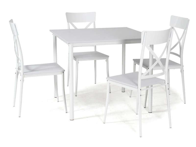 Ensemble Table Carre Et 4 Chaises De Cuisine ROMY Coloris