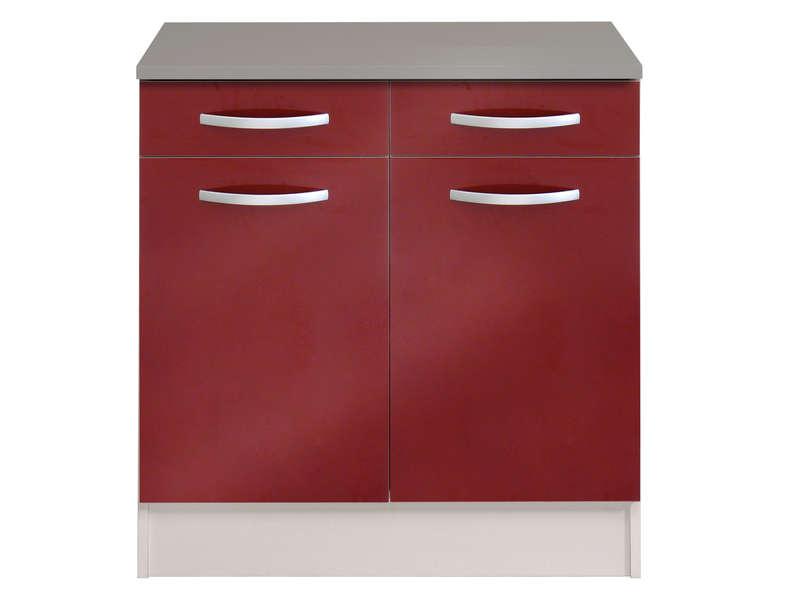 meuble bas 80 cm 2 tiroirs 2 portes