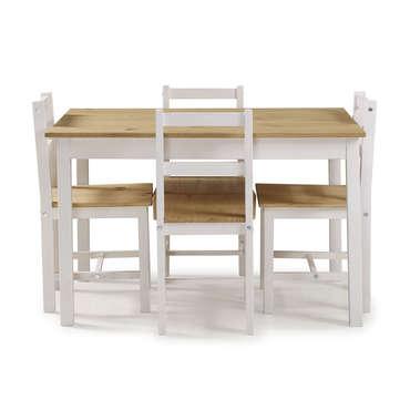 ensemble table 4 chaises de cuisine en pin massif 676321