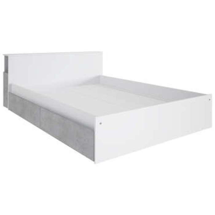 Lit adulte 140x190 cm JAZZ coloris blanc/béton