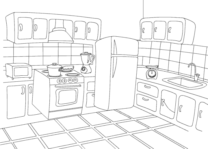 Kitchen Colouring Pages