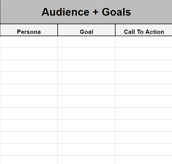 Audience and goals spreadsheet template