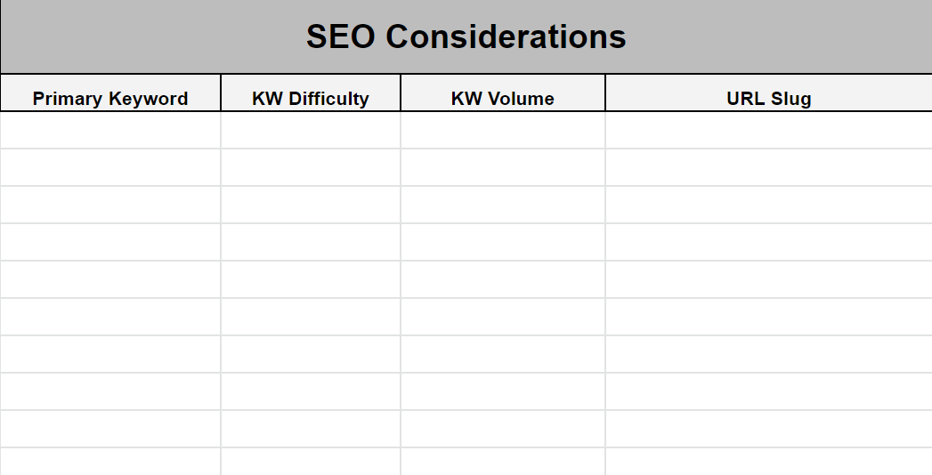 SEO considerations template