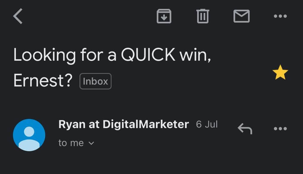 Question subject line