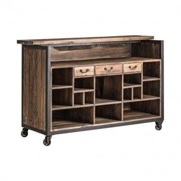 bar comptoir en bois massif style industriel virginia