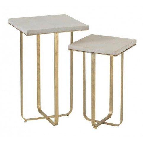 set de 2 tables gigognes dyca bois de manguier metal blanc or