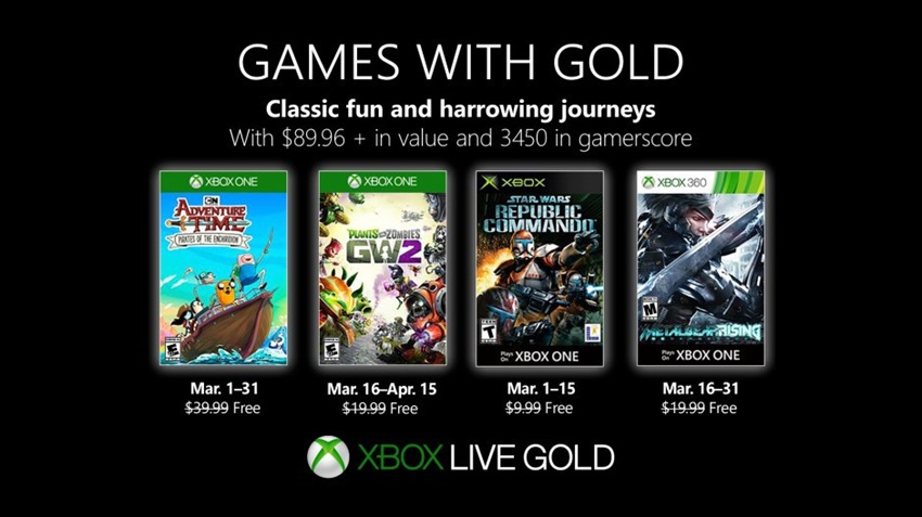 The March Games with Gold have been revealed