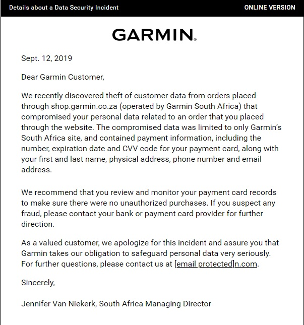 Garmin South Africa hacked, personal details including card and CVV details have been stolen 4