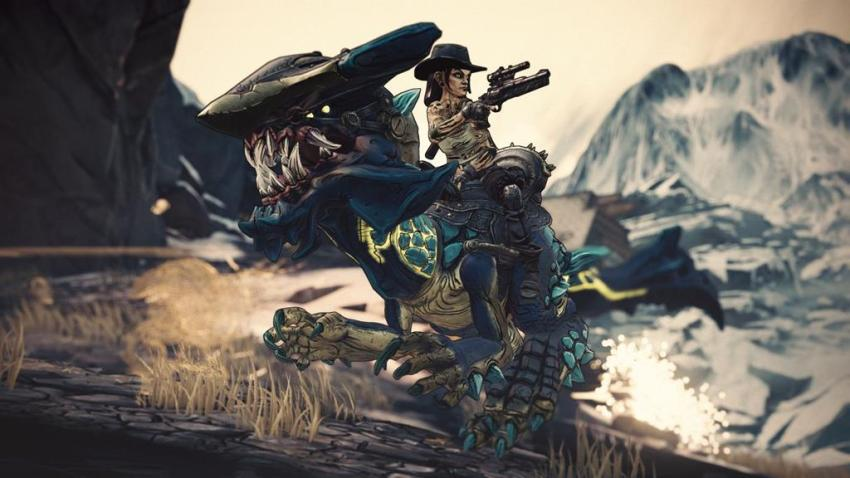 You can ride a badass Velociraptor with guns in the third Borderlands 3 expansion, Bounty of Blood 11