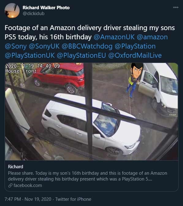 Amazon fires driver who drove off with a PS5 birthday present - Critical Hit
