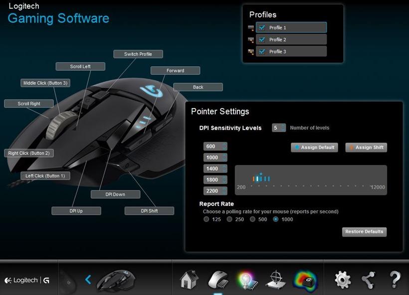 Logitech G502 Proteus Spectrum Gaming Mouse software