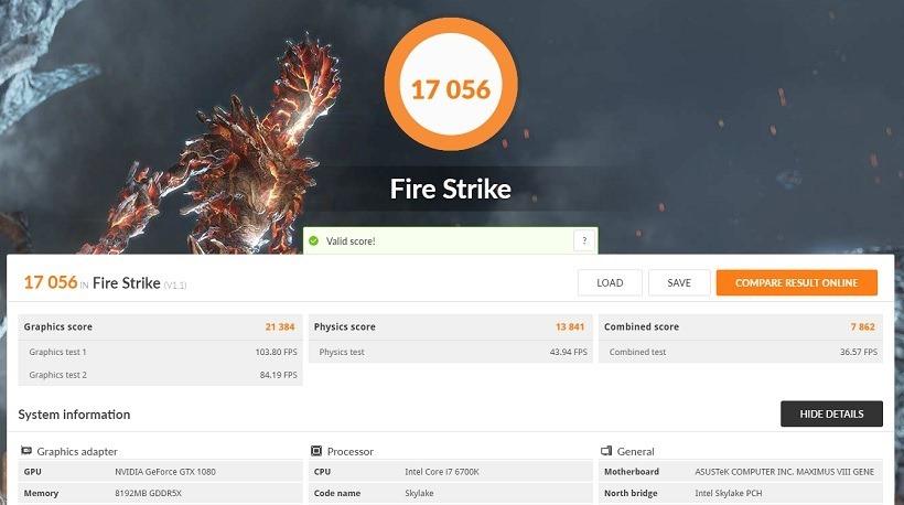 GTX 1080 FireStrike Benchmark
