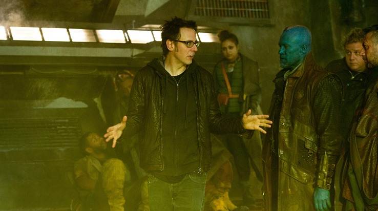 Marvel's Guardians Of The Galaxy..L to R: Director James Gunn on set with Michael Rooker (Yondu) and actor Sean Gunn..Ph: Jay Maidment..?Marvel 2014