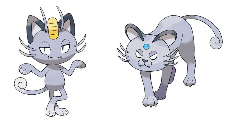 meowth evolves into alolan persian when leveled up with max happiness