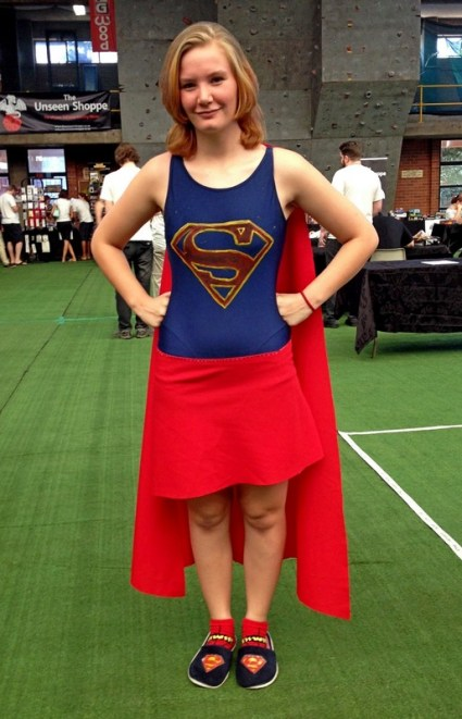 Kyra as Supergirl.