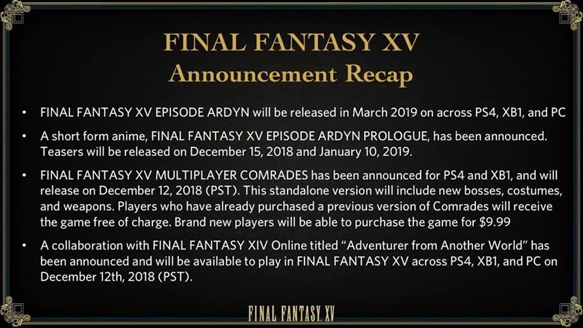 FF XV Announcement