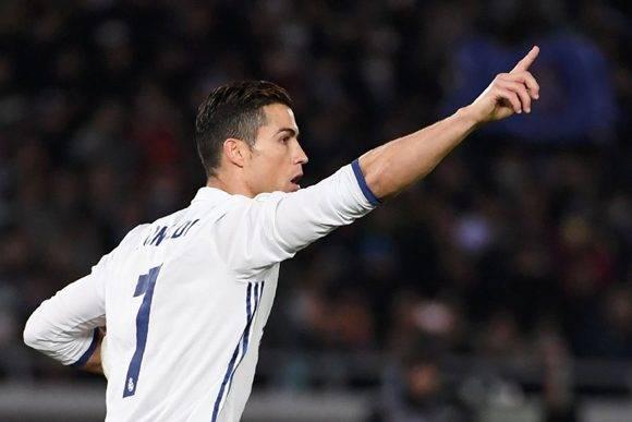 Cristiano Ronaldo, del Real Madrid, celebra el segundo gol del Real Madrid. Foto: AFP.