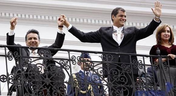 Lenín Moreno (izq) junto a Rafael Correa. Foto: Presidencia de Ecuador/ Andes.