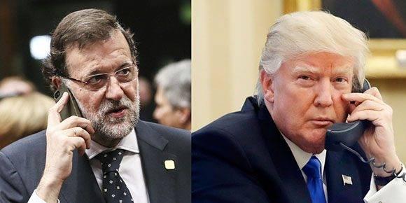 Mariano Rajoy y Donald Trump sostuvieron su primera conversación telefónica desde que el magnate asumiera la presidencia de Estados Unidos.