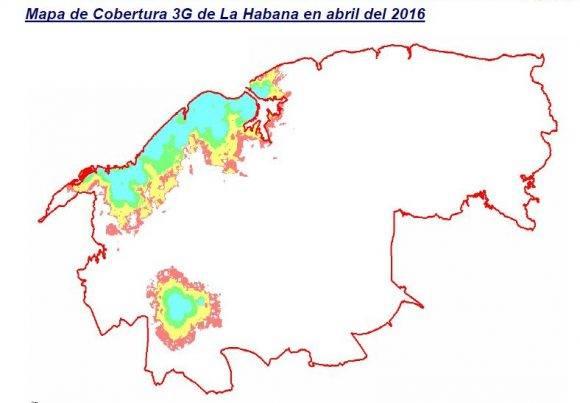 Mapa de Cobertura 3G de La Habana en abril del 2016