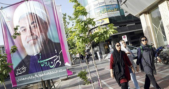 Un cartel electoral en apoyo a Rohani en una calle de la capital iraní, Teherán. Foto: EFE.