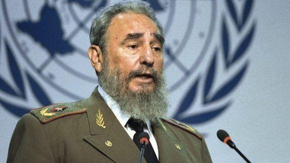Fidel Castro Ruz durante su histórico discurso en la Conferencia de Naciones Unidas sobre el Medio Ambiente y el Desarrollo, en Río de Janeiro, Brasil.