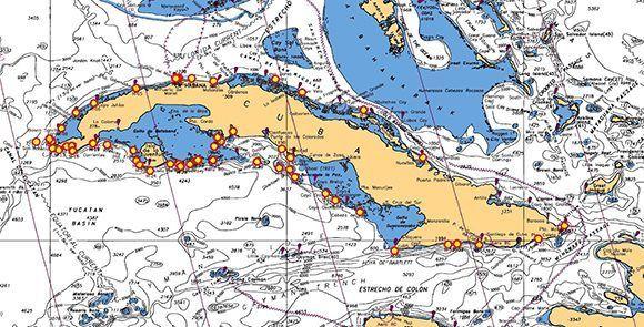 Mapa de Cuba con los sitios de buceo ROV propuestos.