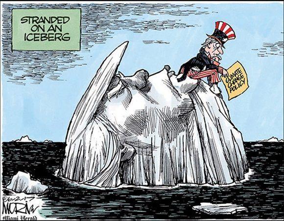 Política sobre cambio climático. Varado en el iceberg. Jim Morrit en el Miami Herald.