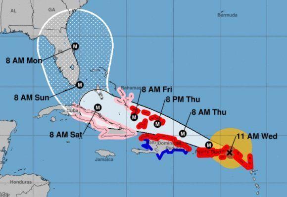 Según esta posible trayectoria del huracán Irma, el ciclón afectará a casi todo el territorio cubano. Imagen: NOAA.