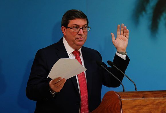 Conferencia de prensa de Bruno Rodríguez, ministro de Relaciones Exteriores de Cuba, en La Habana. Foto: Ismael Francisco/ Cubadebate.