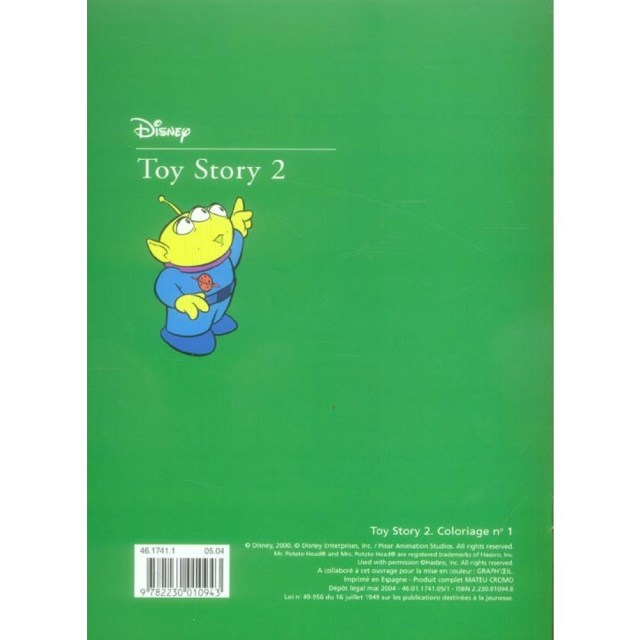 Toy Story 20 - Coloriage vert