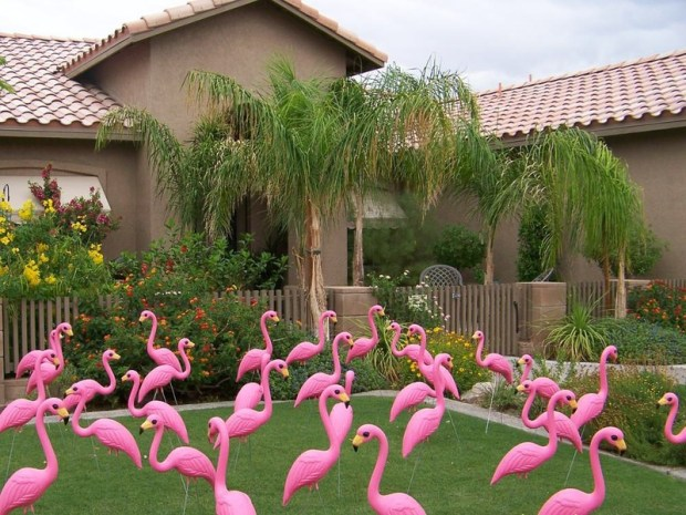 Flamingo Decor with Plastic Fake Pink Flamingos in the Yard Front Porch